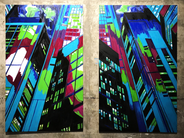 'Etemenanki Rises: a diptych' oil on aluminium, 20090 cm (each), 2019