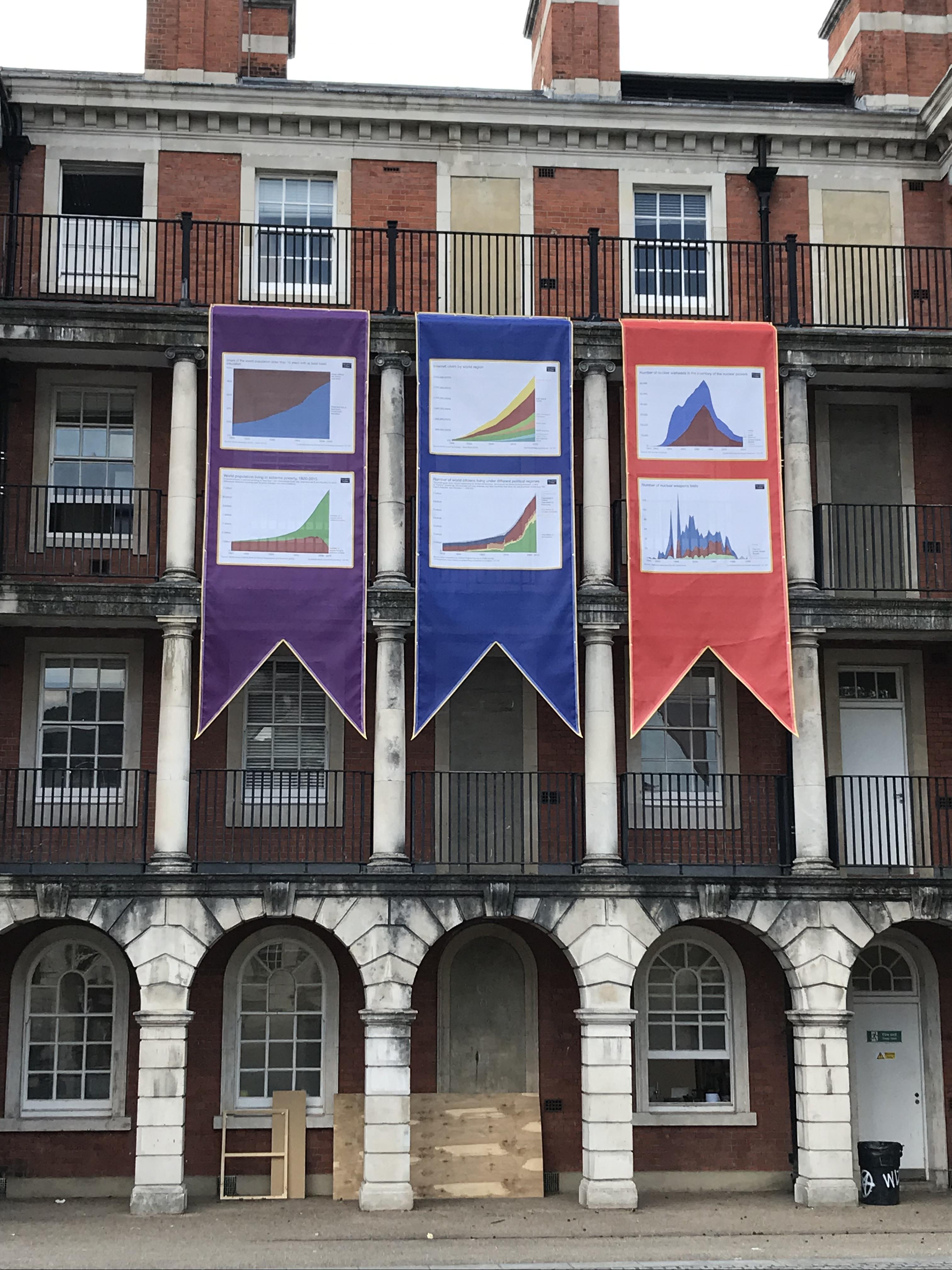'Virtutis Praemium: the reward of virtue', an installation using heraldic banners, flags, buntings and postcards