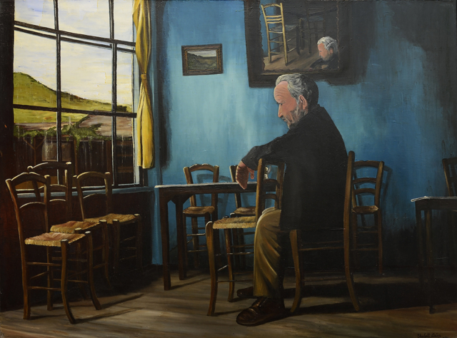 Man in a room with chairs, oil on canvas, 48X36 inches, 2001