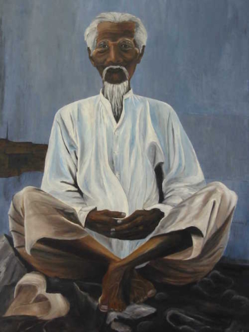 Man siting on rocks, oil on canvas, 36X48 inches, 1999
