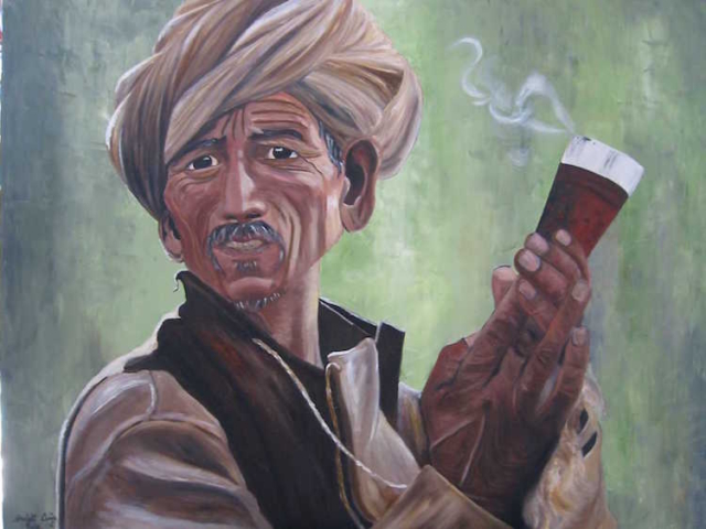 Man smoking chillum, oil on canvas, 48X36 inches, 2000