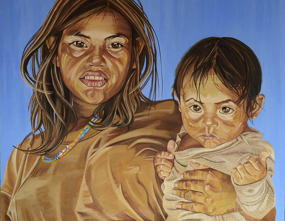 Mother and Child, oil on canvas, 72X60inches, 2015