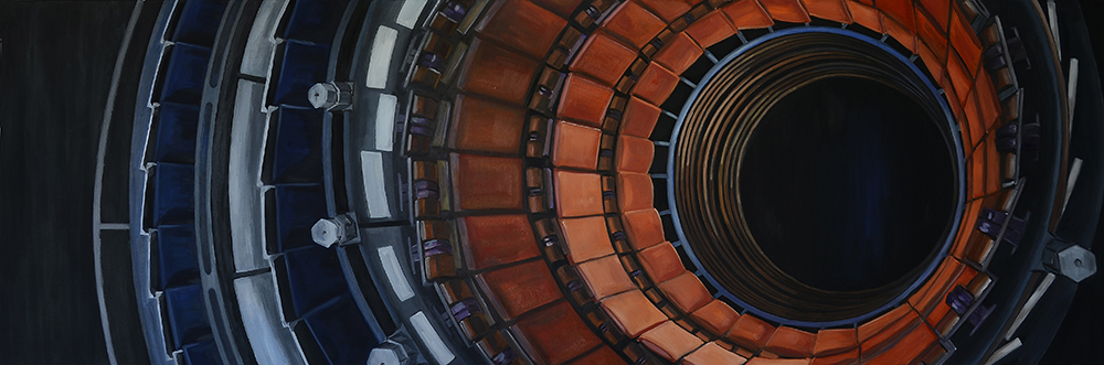 'Pattern Seeker: Tracker Barrel of CMS', oil on canvas, 183 X 60cms