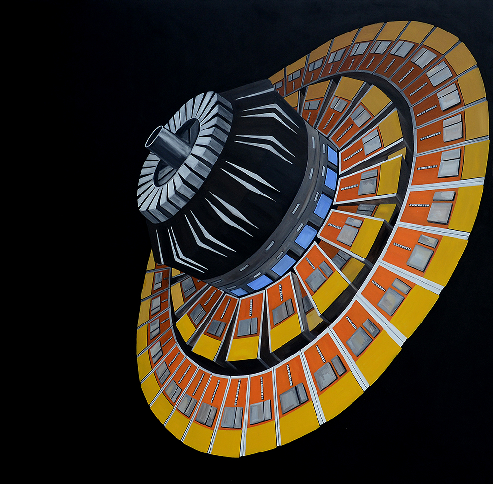 'Pattern Seeker: Krishna's Discus', oil on canvas, 182 X 182cms Seeker V - Hadron Calorimeter for the Compact Muon Solenoid, oil on canvas, 182 X 182 cms, 2016