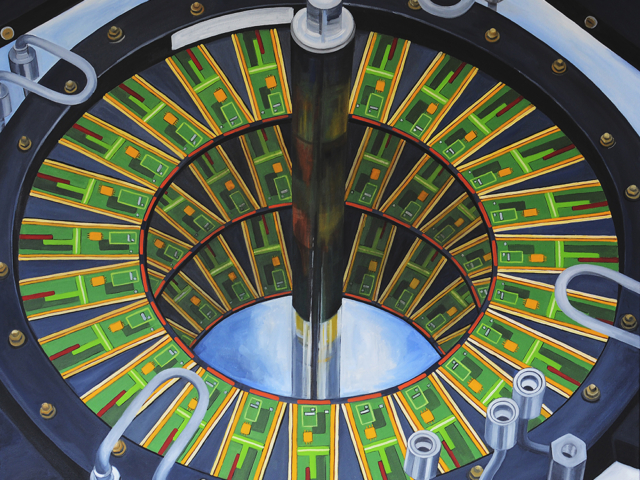 'Pattern Seeker: Gravity Well', oil on canvas, 122 X 100cms