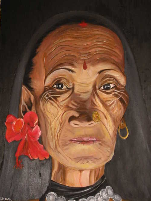 Pushpanjali, oil on canvas, 20X26 inches, 2000