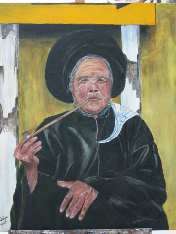 Woman smoking pipe, oil on canvas, 26X20 inches, 2000